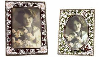 portafoto contornato di perle e swarosky
